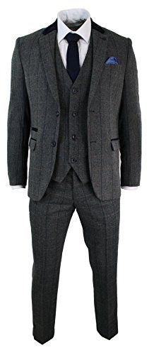 Mens Check Vintage Herringbone Tweed Charcoal Grey 3 Piece Suit Slim