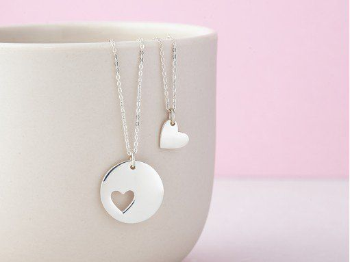 Mother Daughter Heart Necklace Set of 2 Christmas Gift Ideas