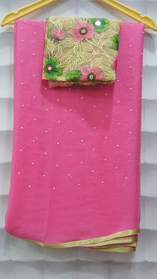 27bdf8bbe Exclusive Pearl Georgette saree With designer Blouse| Buy online sarees |  Elegant Fashion Wear