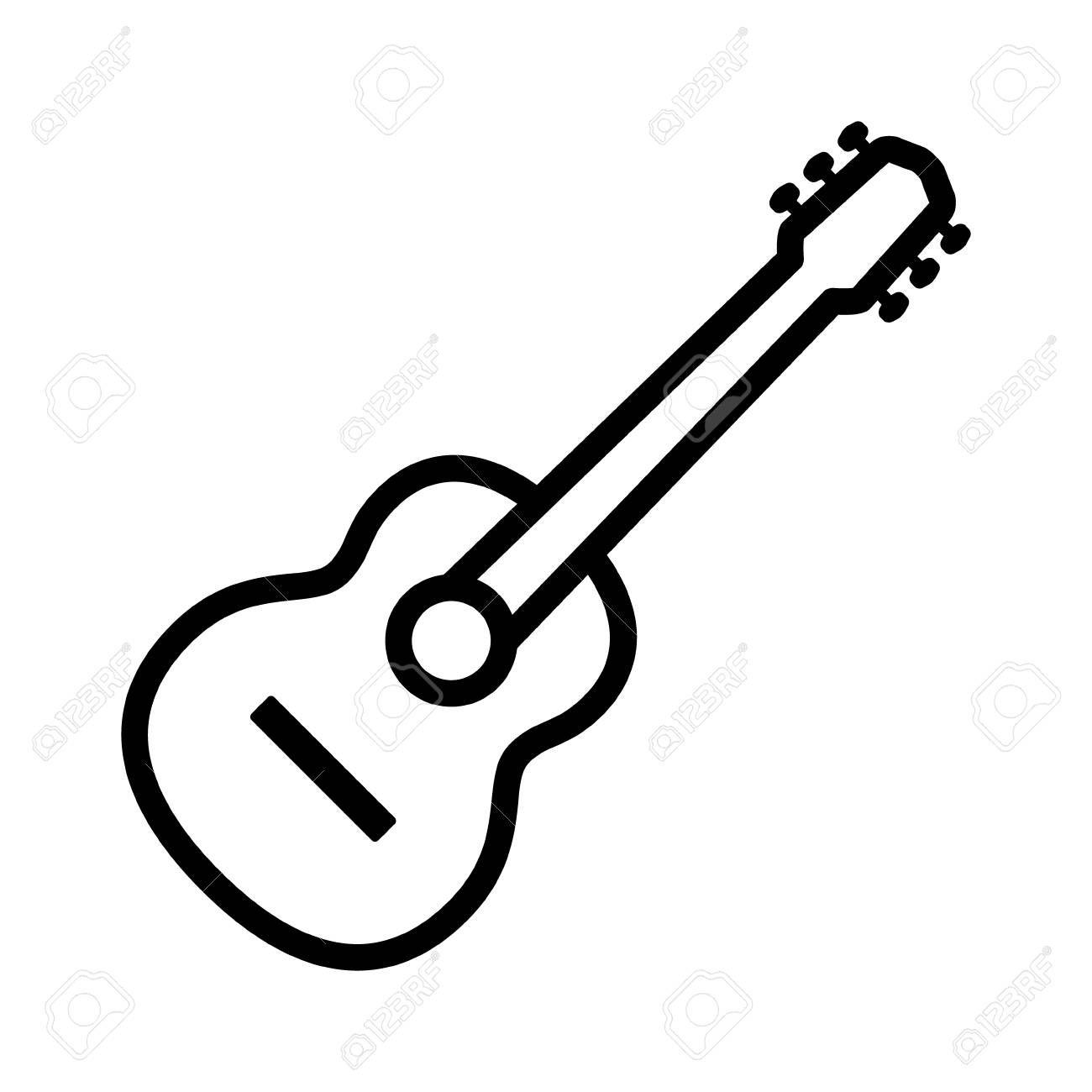 Acoustic Guitar Musical Instrument Line Art Icon For Music Apps Art Icon Guitar Doodle Line Art