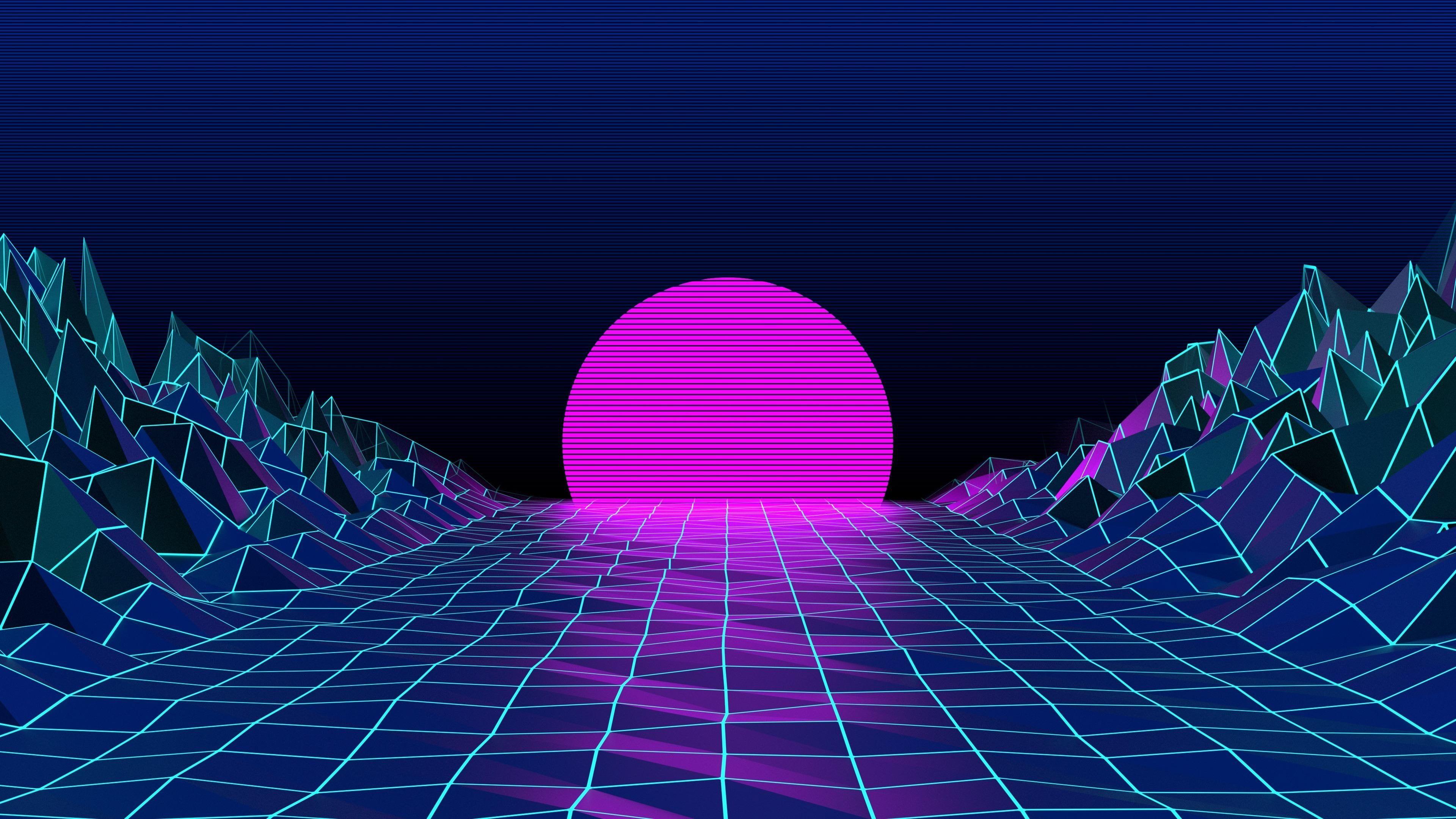 Retrowave Neon Digital Art Retro Style Sky Sun 80s Neon Art Graphic Design Graphics Vaporw Aesthetic Desktop Wallpaper Aesthetic Wallpapers Wallpaper Pc