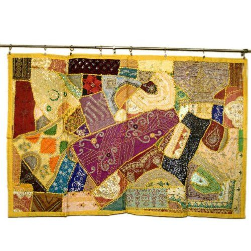 Amazon.com: Ethnic Home Decor Yellow Handmade Vintage Sari Tapestry ...