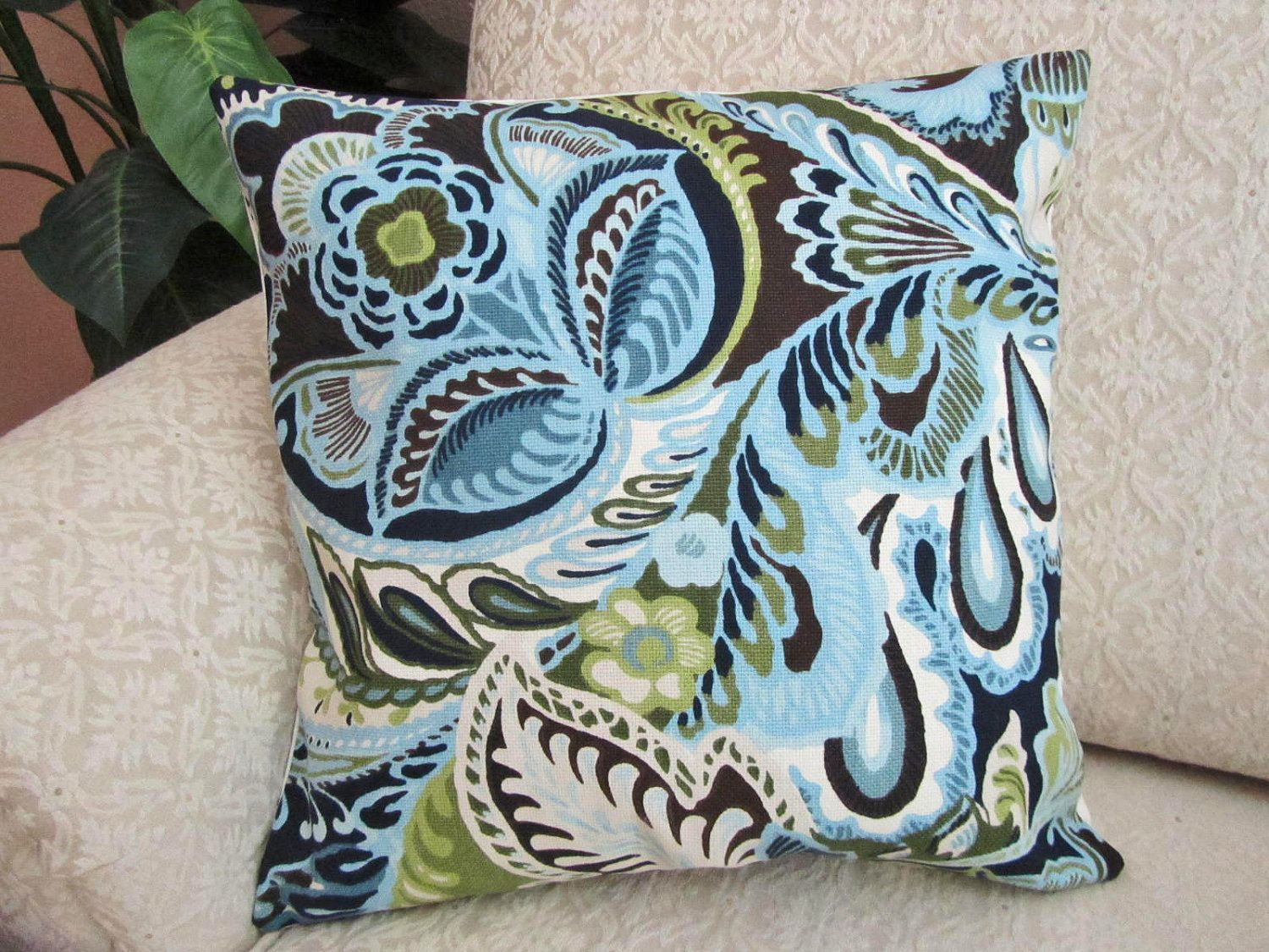 Powder Blue Throw Pillow Cover With Navy Blue Olive