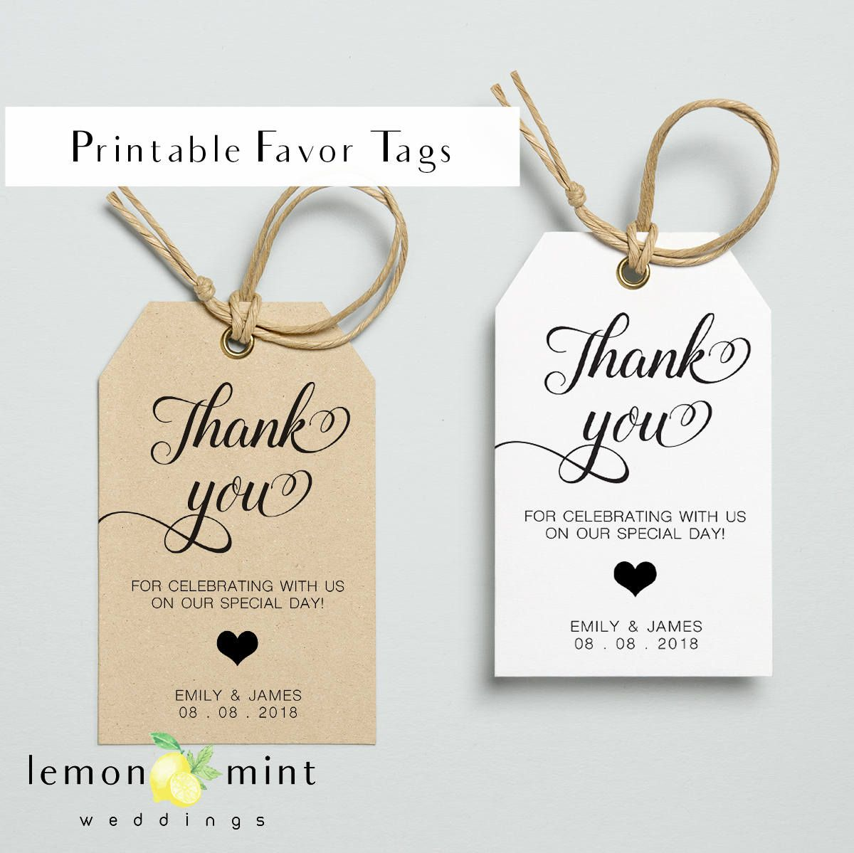 Printable favor tags, printable personal favor tag, wedding favor ...