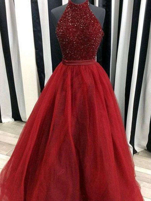 86cd1710d8 Stylish Ball Gown Sleeveless Floor-Length High Neck Beading Organza ...