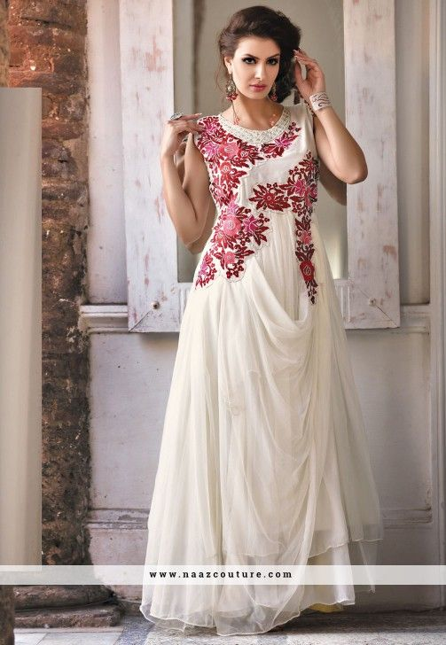 Orphic Off White Embroidered Evening Gown