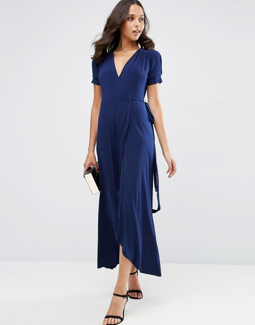 Image of asos crepe wrap maxi dress with cap sleeves obsession