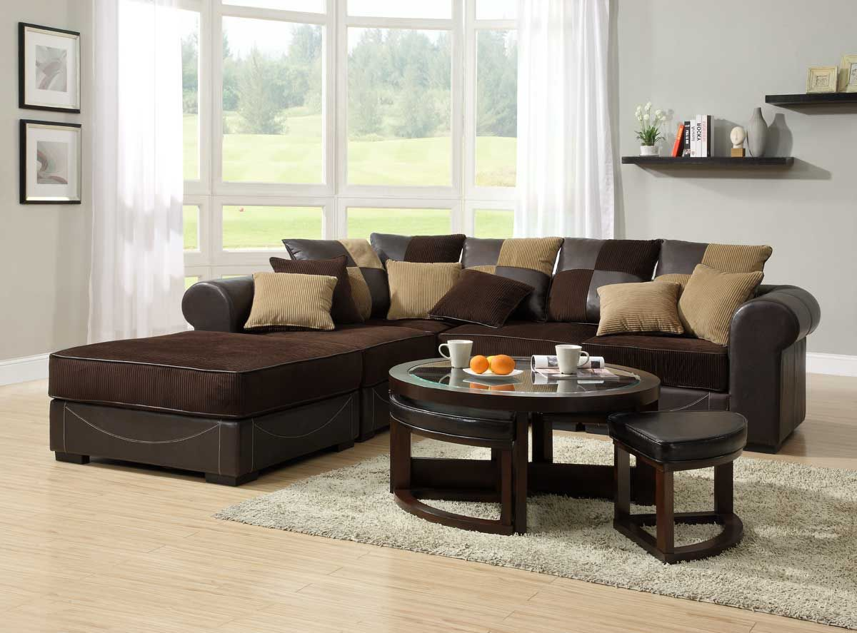 Sweet brown sectional l shaped sofa design ideas for for Brown leather living room decorating ideas