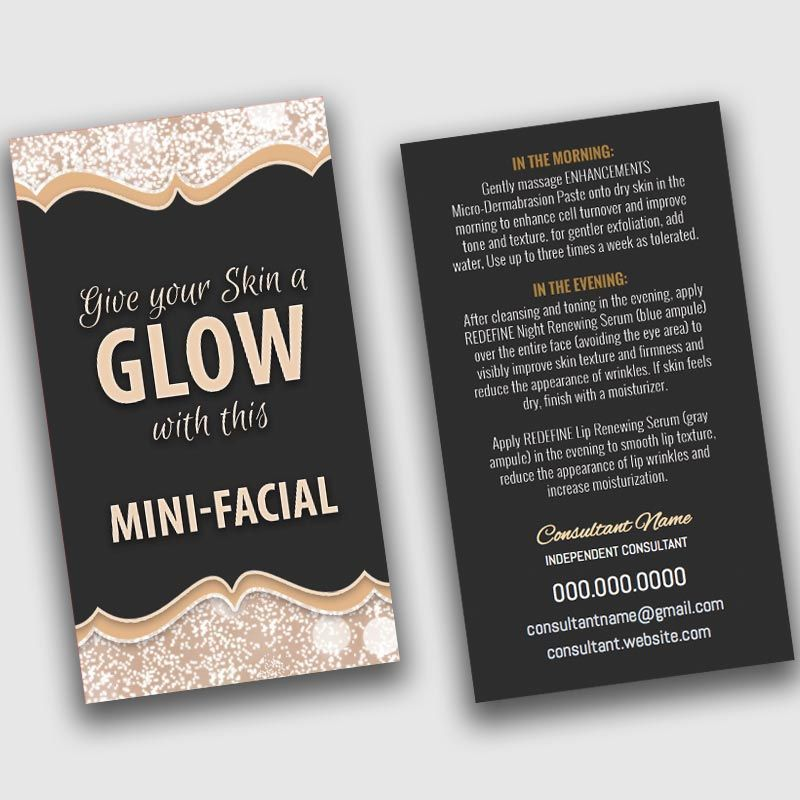 Mini-Facial Card - BLACK / GOLD SPARKLES | Business card design ...