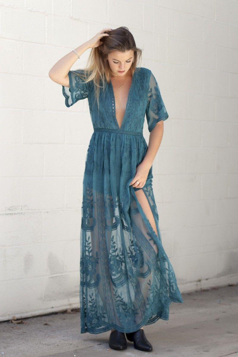 MUSE LACE MAXI DRESS- TEAL | Online shops | Pinterest | White lace ...
