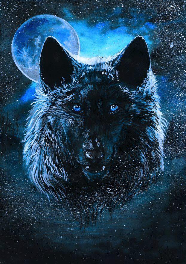 Blue Moon Wolf Wolf Artwork Wolf Spirit Fantasy Wolf