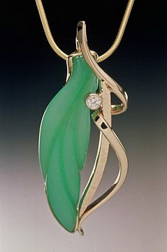 14k Pendant With Chrysaprase And 10 Point Diamond 1800 Without Chain Chains Are Available Separat Art Jewelry Contemporary Artistic Jewelry Jewelry Images