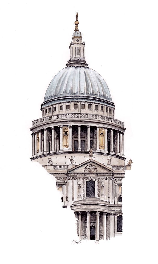 Watercolor, pen and ink of St Paul's Cathedral in London by artist Esther BeLer Wodrich. Original and prints of this and others in the architecture series can be found at www.estherbeler.com/shop