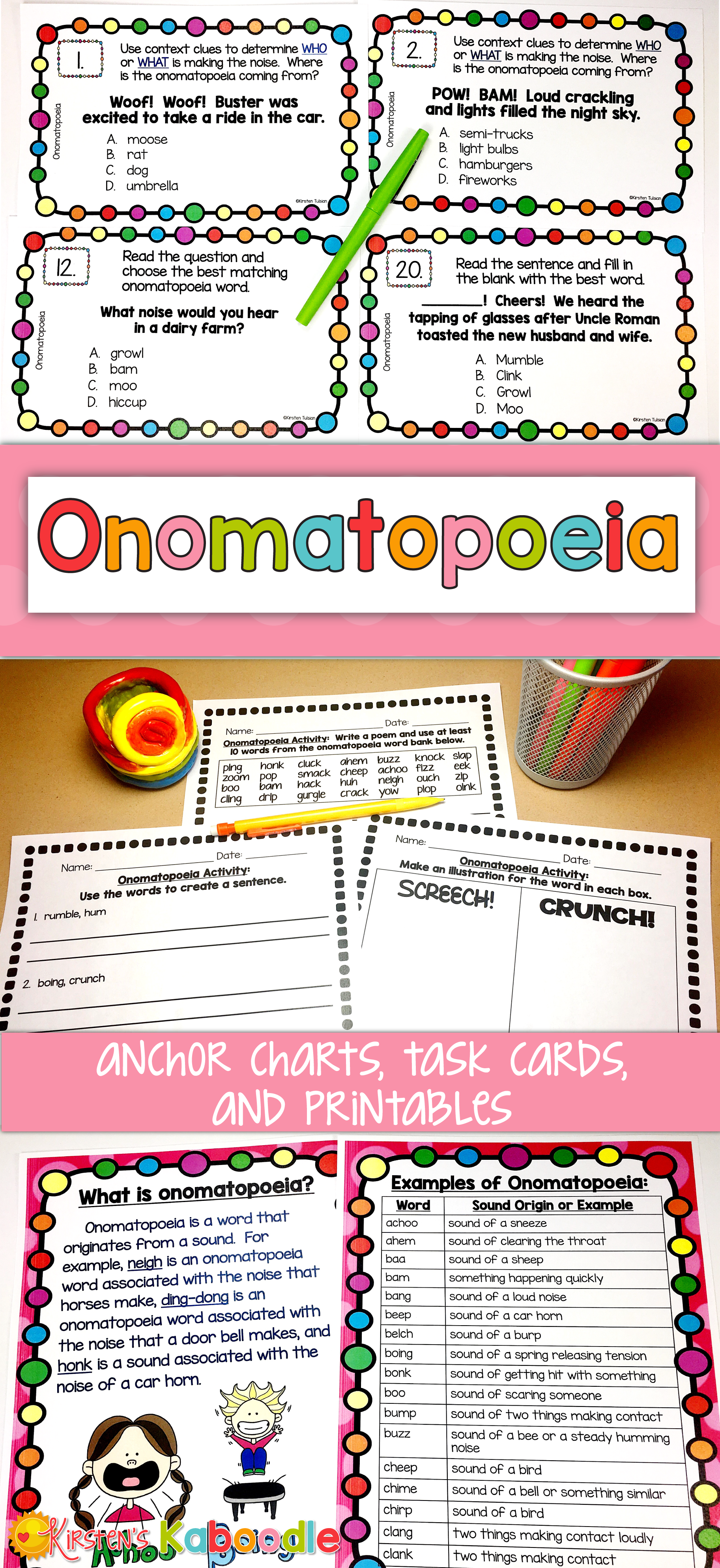 Onomatopoeia Activities And Task Cards
