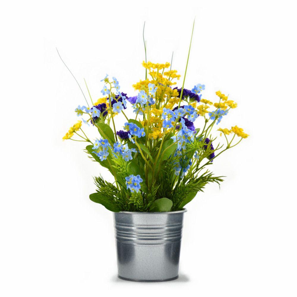 Artificial Silk Flower Arrangement Forget Me Not In Zinc Pot