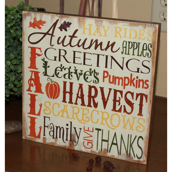 Fall sign/subway style/autumn/typography/fall decoration/wood... ($30) ❤ liked on Polyvore featuring home, home decor, wall art, grey, home & living, home décor, ornaments & accents, wooden wall art, hand signs and hand painted signs