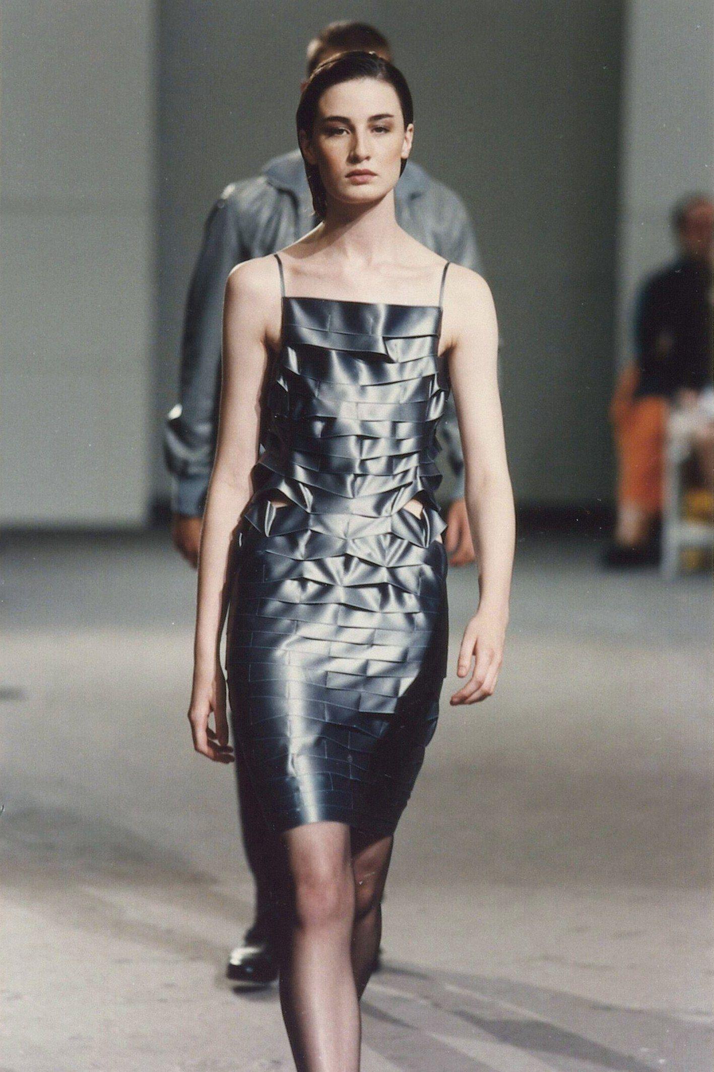 Helmut Lang / Spring/Summer 1998 / Satin segmented tube dress / SOLD