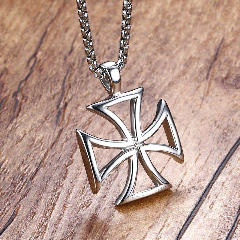 Men S Maltese Cross Pendant Necklace Stainless Steel Vintage