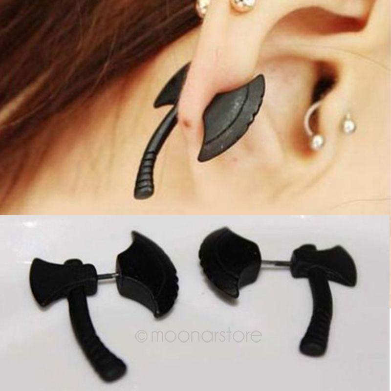Cool Rock Punk Black Axe / Hatchet Ear Stud Men Women Body Piercing Earring 1PC   eBay