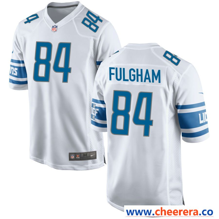 brand new 59468 047b1 Men's Detroit Lions #84 Travis Fulgham White NFL Nike ...