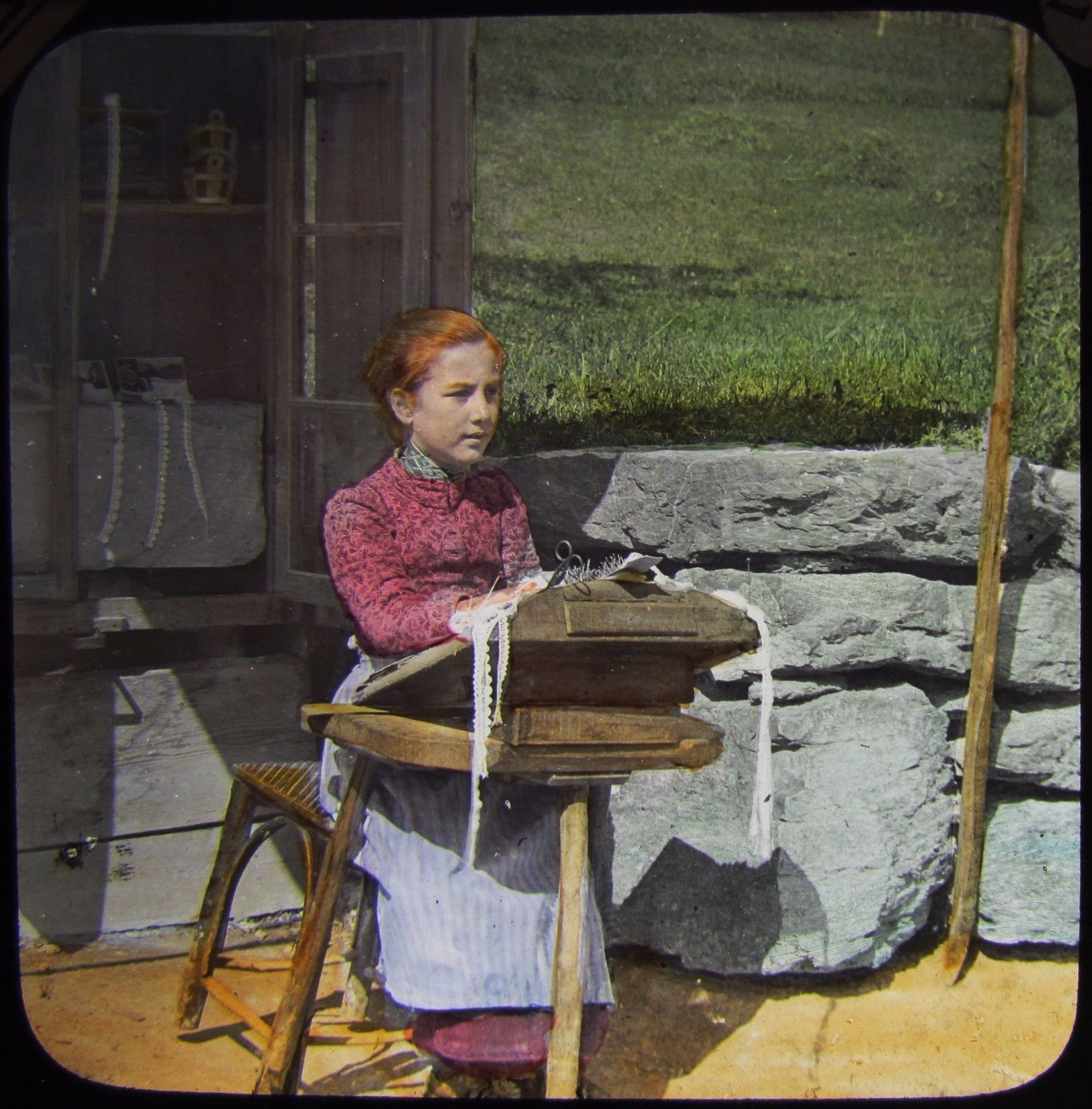Glass Magic Lantern Slide STUDY OF A LACE WORKER C1890 PHOTO SWITZERLAND