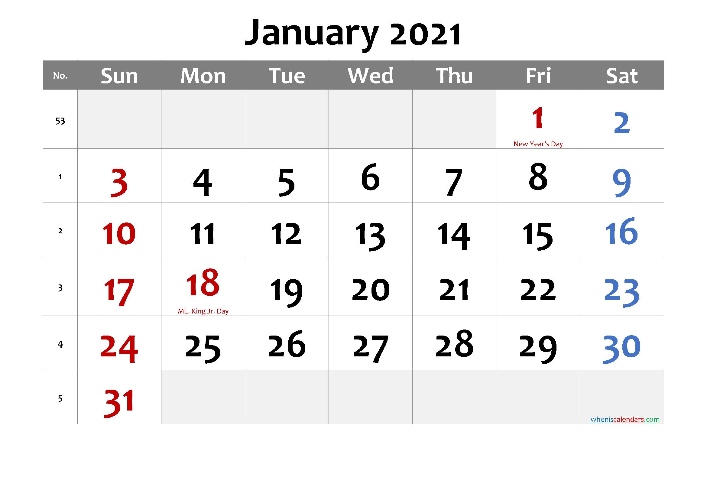 Free Printable January 2021 Calendar In 2020 Printable Calendar July Calendar Printables Printable Calendar