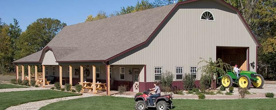 Gambrel roof pole barn garage alexandria indiana fbi for Pole barn home kits indiana