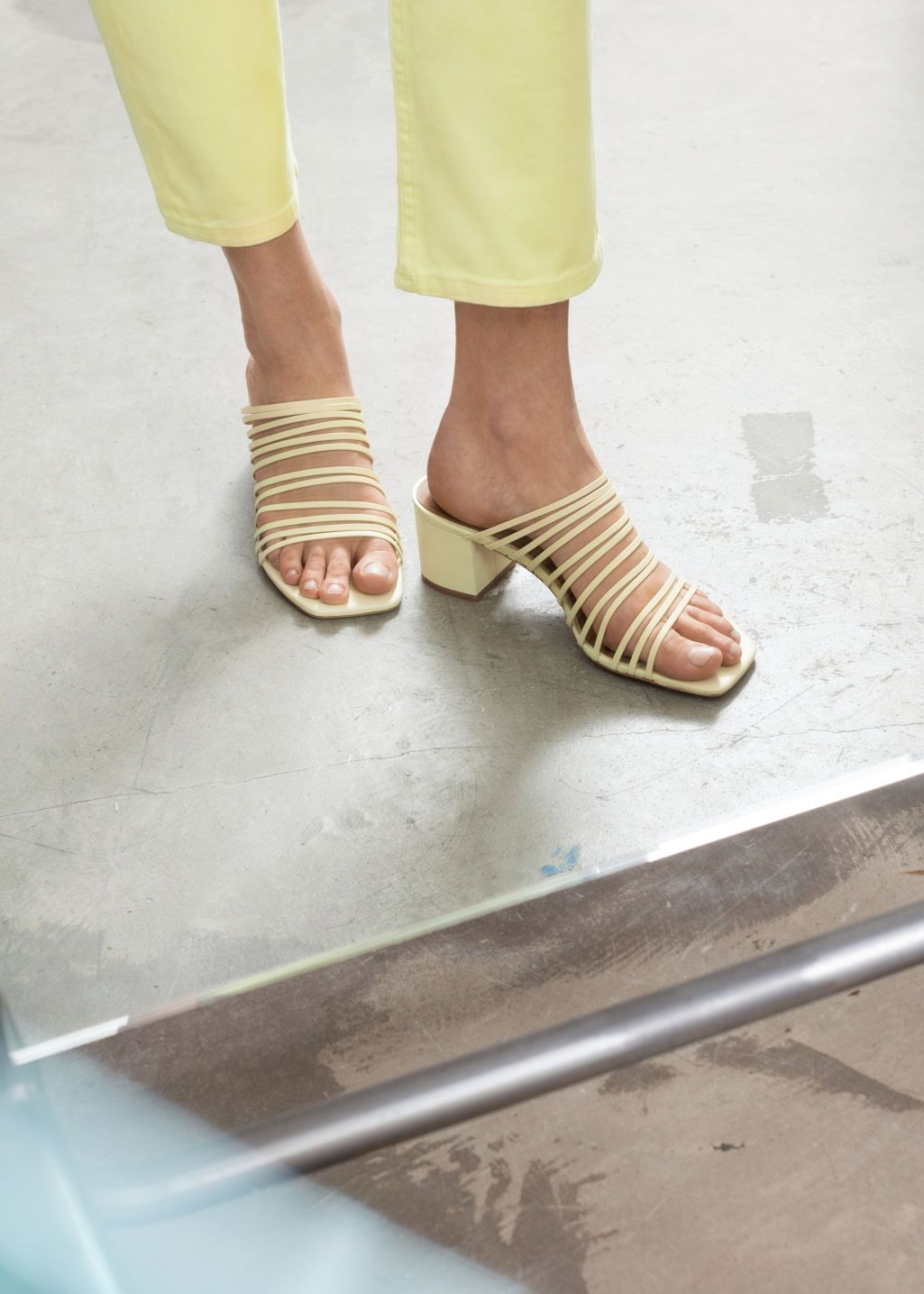 2780f04916e72 Strappy Square Toe Heeled Sandals in 2019 | 255555 | Yellow heeled ...