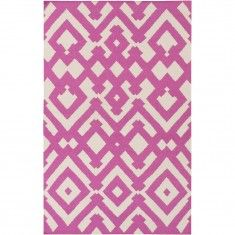 Flat-weave rugs can be made in different designs & Colors. Pictured: plumberry & cream rug.