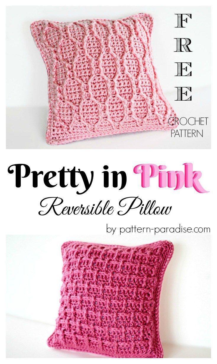 Free Crochet Pattern: Pretty In Pink Pillow | Mantas de puntos ...