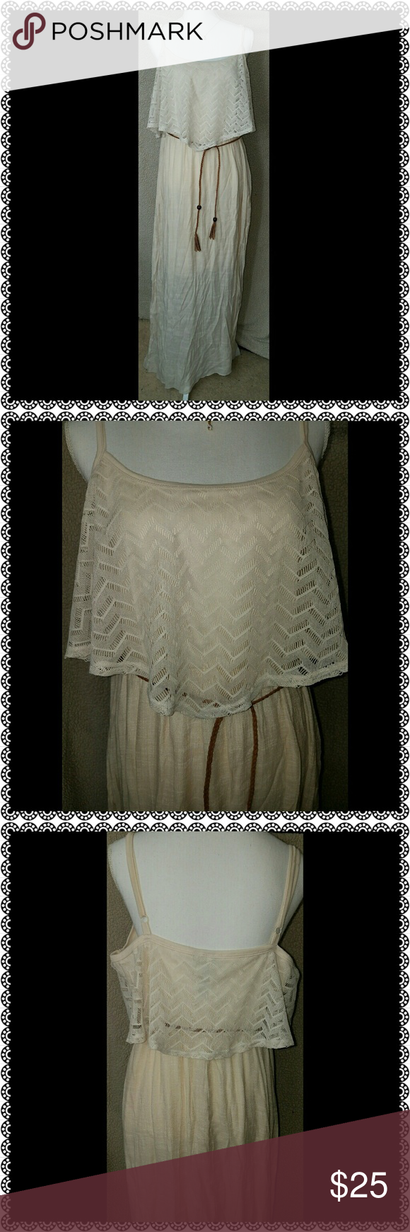 Plus Size Sundress Cream color. Slip attached underneath is knee length.  Belt included. Dresses Maxi