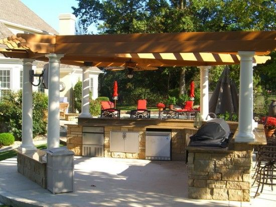 Outdoor, Beautiful Pergola Design Wtih Solid Wooden Roof Also Modern Outdoor  Kitchen Design Make This Stylish Backyard Looks More Wonderful: Choosing ...
