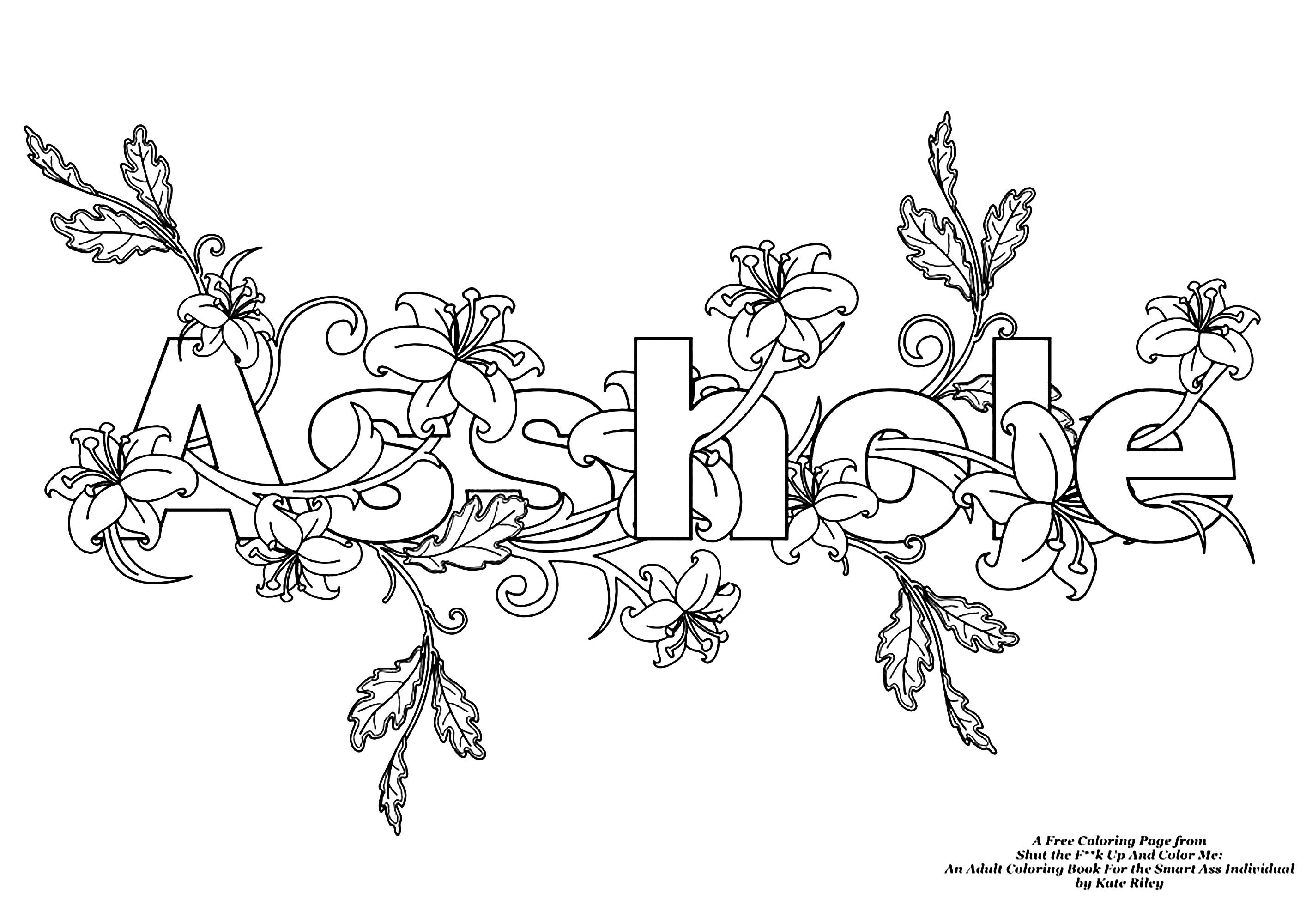 - AssholeSwear Word Coloring Page - Swear Word Coloring Pages For