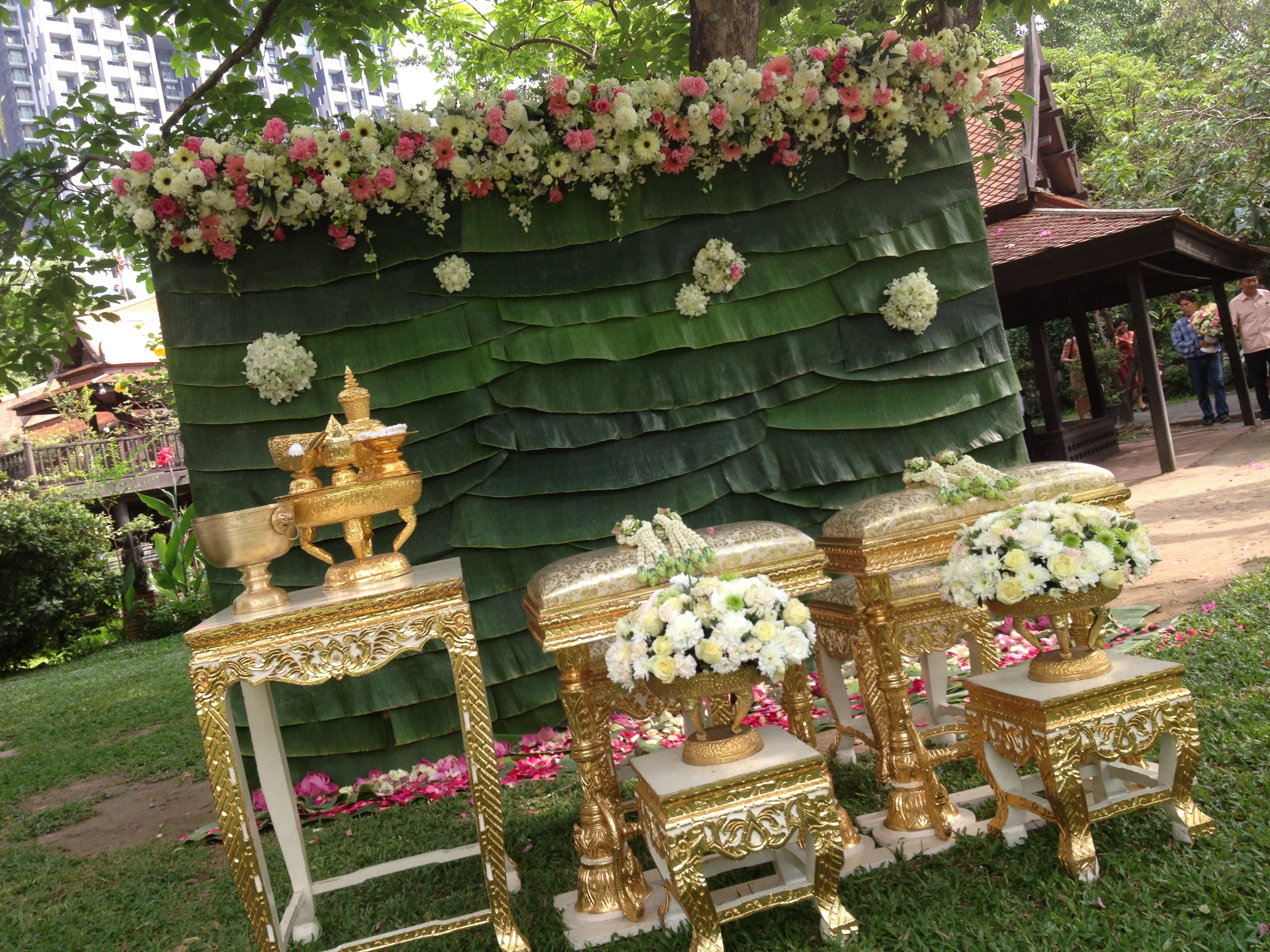 Very thai style flower backdrop thai wedding for Thai decorations ideas