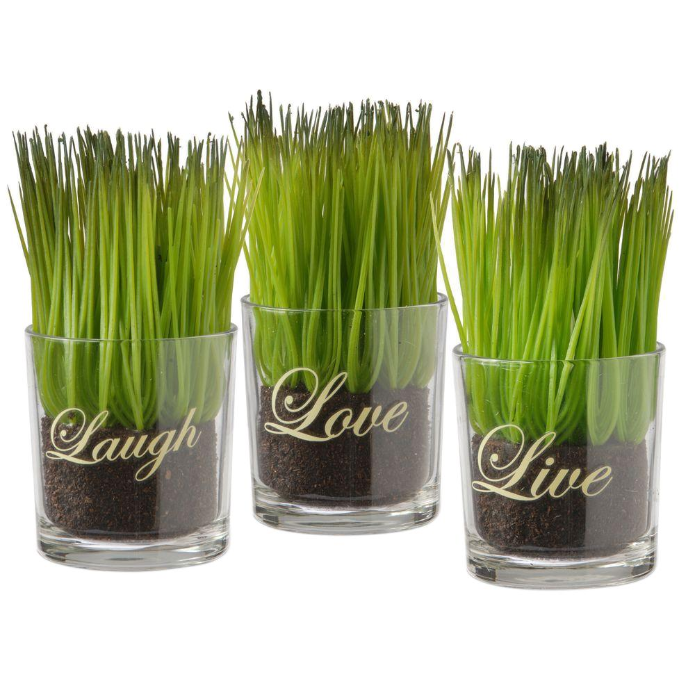 National Tree Company Assortment-Small Glass Cup Printed Live, Laugh and Love (Set of 3)-RAS-KS14293-1 - The Home Depot