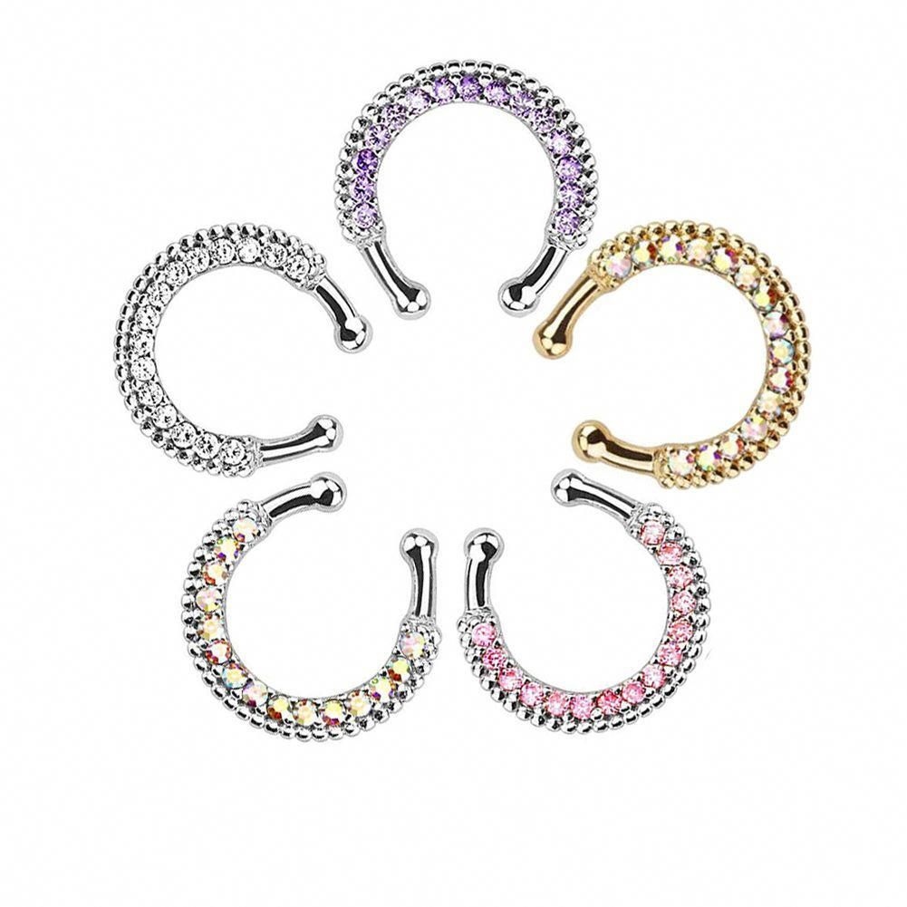 Colorful Fake Septum Fashion Non Piercing Stainless Steel Nose Ring Jewelry