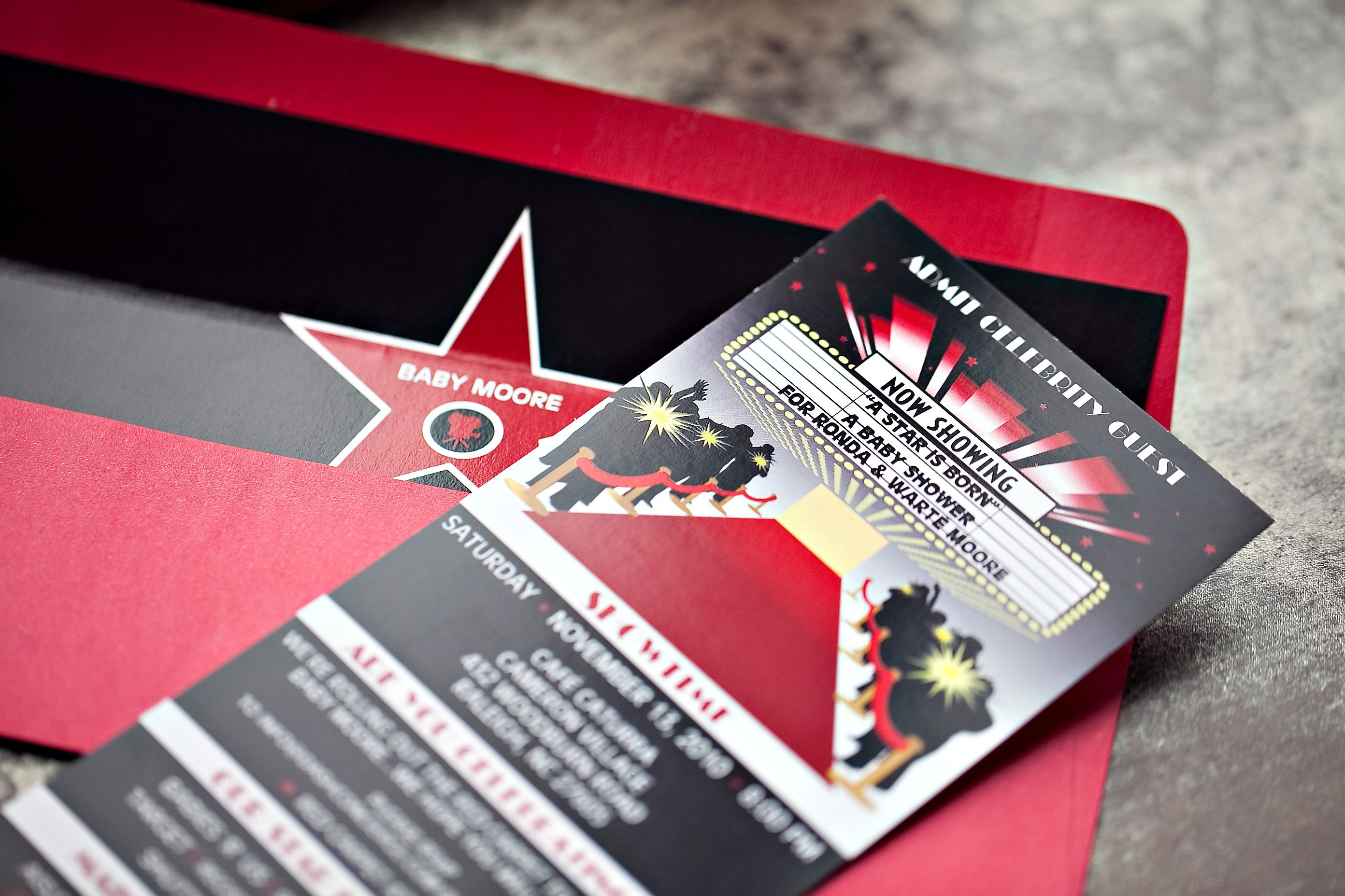 Hollywood Theme Invitations Red Carpet Inspired LEPENN DESIGNS
