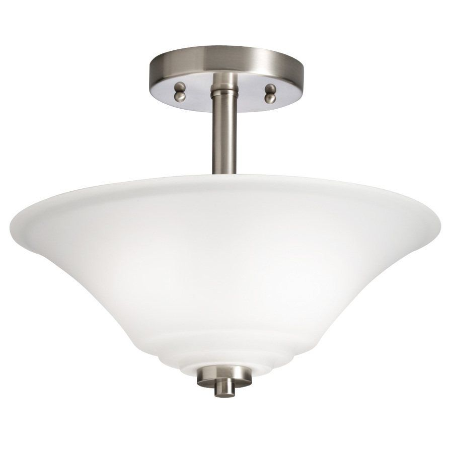 Portfolio 13 Lyndsay Brushed Nickel Frosted Glass Semi Flush