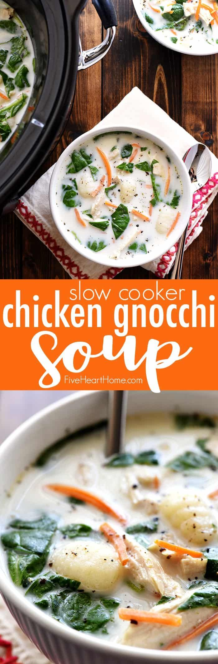 Slow Cooker Chicken Gnocchi Soup a creamy, lightenedup