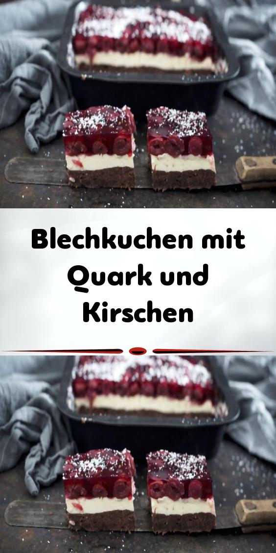 Blechkuchen mit Quark und Kirschen