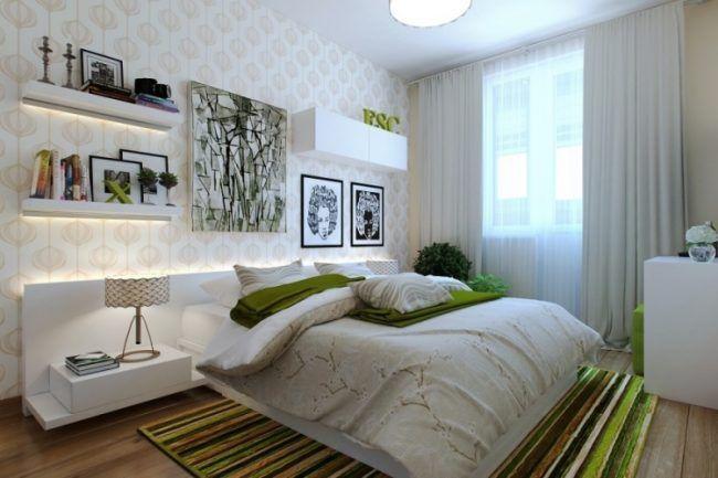 kleine schlafzimmer modern-weisse-moebel-gruener-teppich-led-leisten