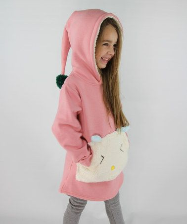 Look what I found on #zulily! Hot Pink & Ivory Fleece Hoodie - Toddler & Girls #zulilyfinds