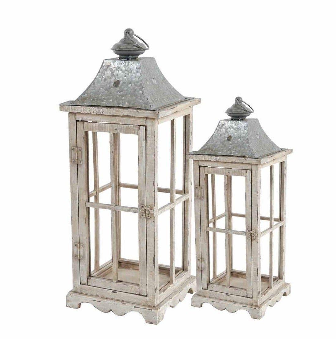 Set of 2 Large Cream Wooden Lanterns, $60.00 | Lanterns | Pinterest