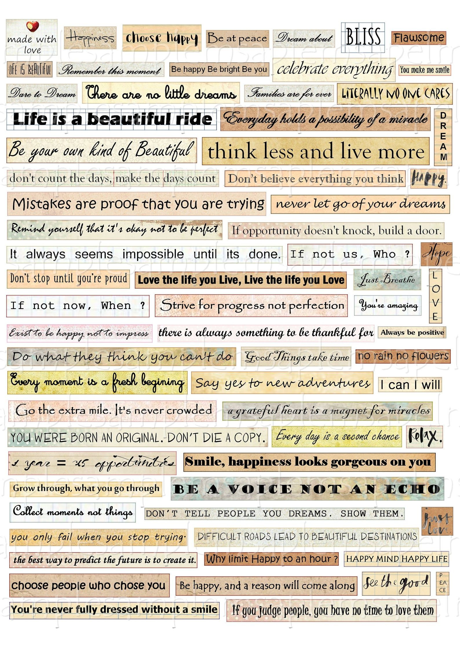 Printable Phrases words quotes kit Digital Collage Sheet inspirational words motavional phrases scrapbook paper journaling clipart words