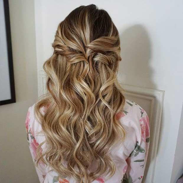 31 Half Up Half Down Prom Hairstyles Stayglam Down Hairstyles Half Up Hair Engagement Hairstyles