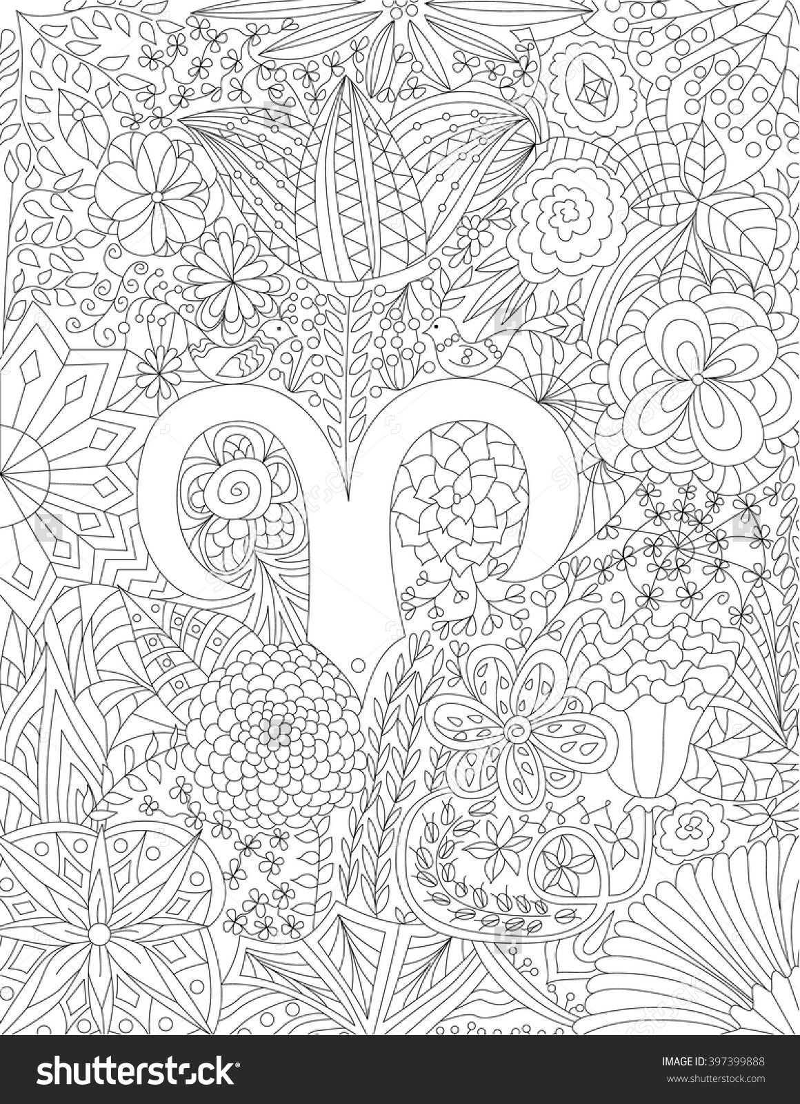 Zodiac Sign Aries Floral Geometric Doodle Pattern Coloring