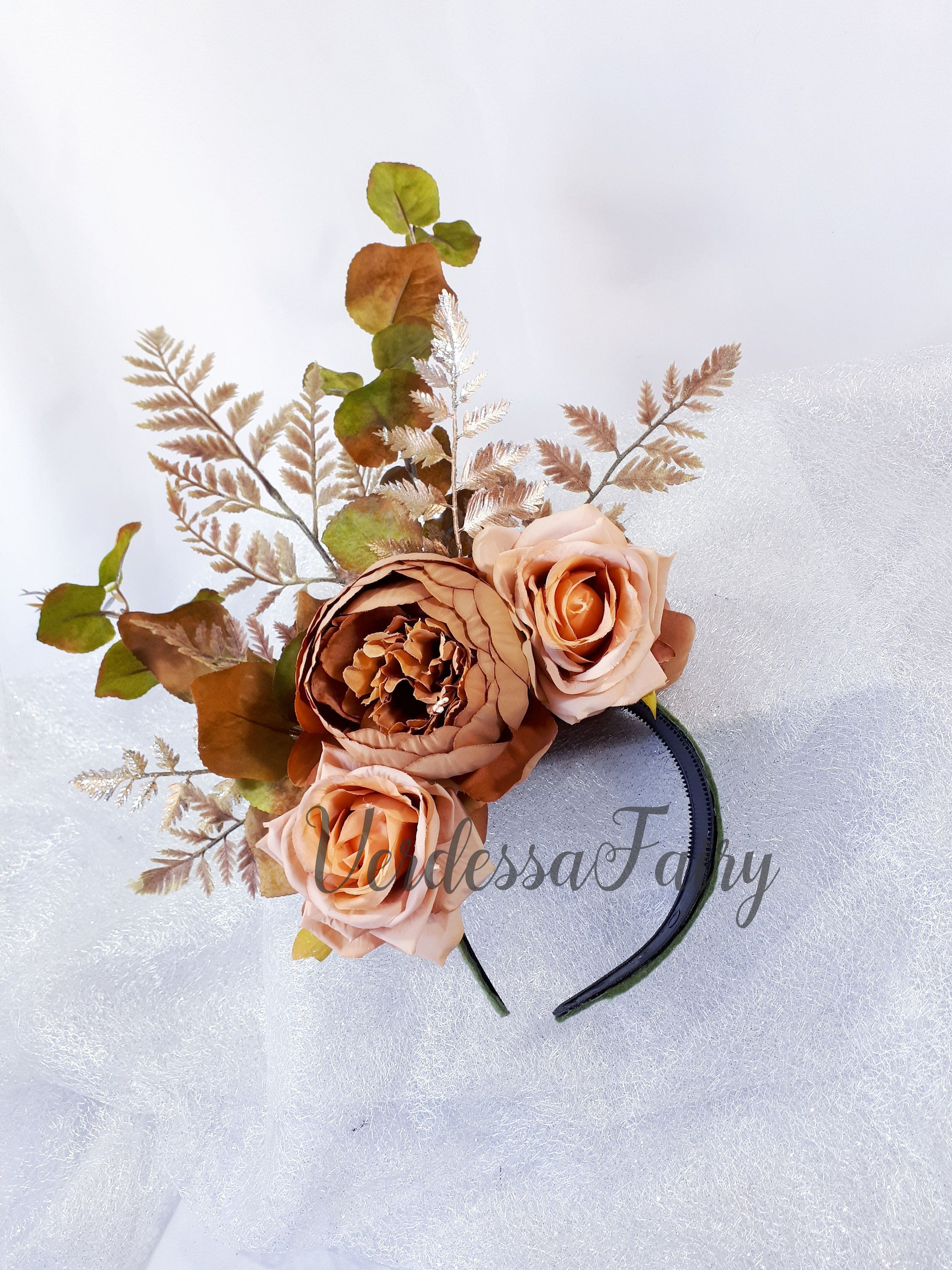 Brown Autumn branch headpiece. Brown peony and fern large fascinator headband. Spring Racing Royal Ascot, Kentucky Derby fascinator.