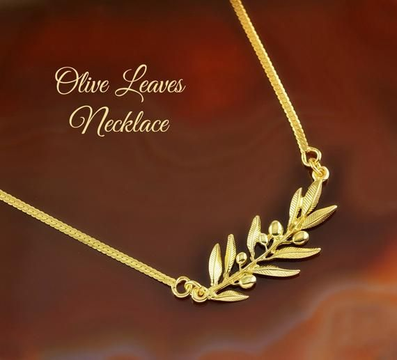 Photo of olive leaves golden necklace, olive leaf, leaves necklace, olive leaf necklace, leaf necklace, brida