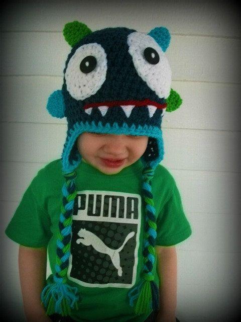 crochet monster hat   gorros bufandas   Pinterest   Gorros, Tejido y ...