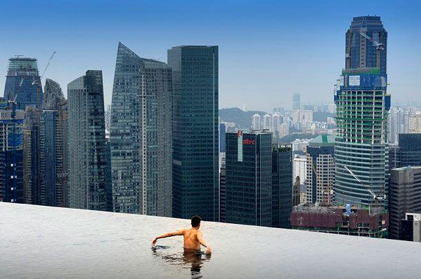 Amazing Infinity Pool on 55-Storey Marina Bay Sand Hotel in Singapore